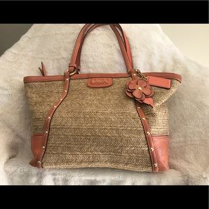 Coach Tan Straw Bag with peach leather & studding